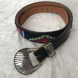 Vintage beaded leather belt by Silver Creek